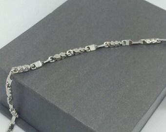 Rhodium Sterling Silver Bar Braclet