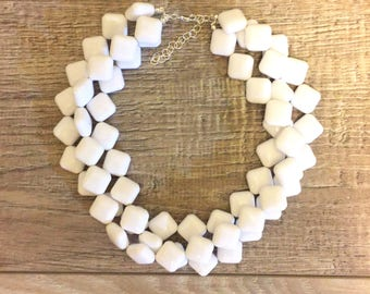 White Beaded Statement Necklace   White Chiklet Necklace   Vintage Lucite Morgan Multi Strand Statement Necklace