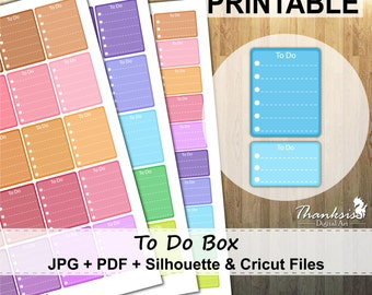 50% SALE, To Do Box Printable Planner Stickers, Erin Condren Planner Stickers, To Do Box Printable Stickers, To Do Box - Cut Files