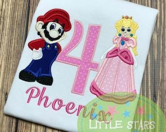 Mario and Princess Peach Birthday shirt - You choose number
