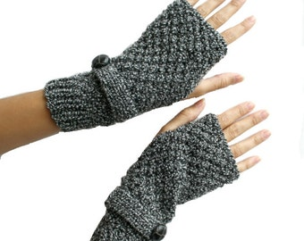 Hand Knit Wool Mittens / gloves Black and White Mixed Fingerless / Christmas Gift / Gift for Her