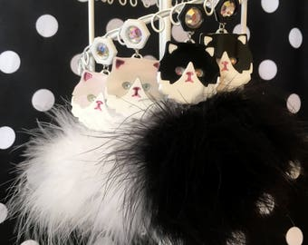Persian Kitty Cat and Pom Pom Earrings in White or Black & White, Laser Cut Acrylic, Plastic Jewelry