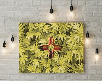 Weed Leaf New Mexico Flag Canvas