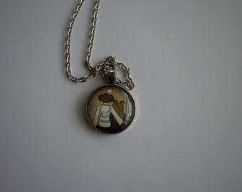 Princess Leia and Ewok Tribute, 1-Inch Pendant Necklace