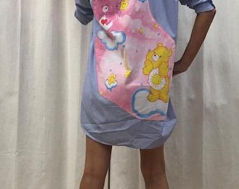 Care Bears Dress Shirt Dress Sweet Lolita Dress Vintage 2005 Fabric Eco Size 8