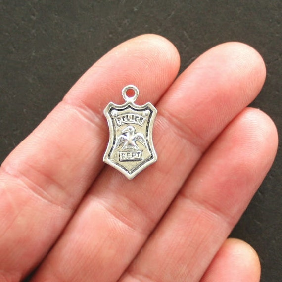 4 police charms antique silver tone department badge sc385 like this item aloadofball Choice Image