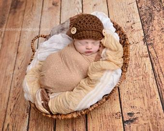 Chocolate Brown Newsboy Hat Newborn Baby