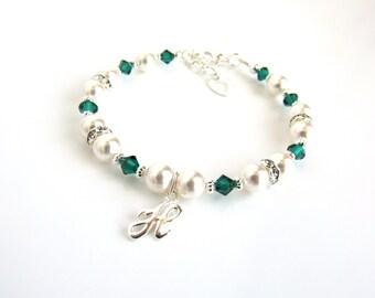 Girls Birthstone Jewelry, May Birthstone Bracelet, Birthstone Jewelry May, Initial Bracelet Birthstone, Gift for Girl, Girls Jewelry