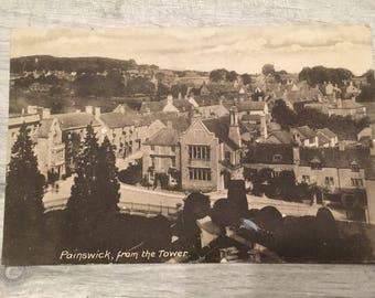 vintage postcard, vintage cards, vintage painswick postcard, Gloucestershire postcard, painwick tower postcard, Gloucestershire