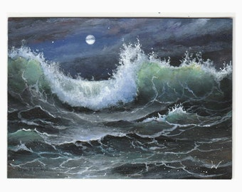 ACEO original Moonlit Sea 185, miniature painting, art card atc, ocean wave seascape moon by Paul Woodruff