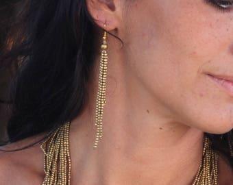 Bohemian Fringe Earrings - Seed Bead Earrings - Festival Jewelry Earrings - Elegant Beaded Earrings - Beaded Tassel Earrings