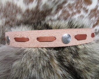 Leather Hatband, Natural Leather, Roughout Leather Hatband with Deer Skin Lace and Ties and Antique Silver Conchos