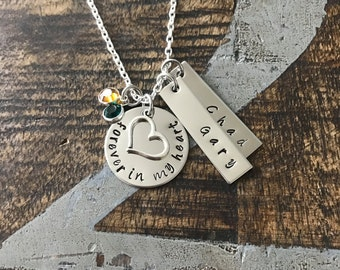 Free SHIP USA Sympathy Gift Forever In My Heart Necklace Loss of a Loved one RIP Never Forgotten In loving memory Memorial Necklace Memorial