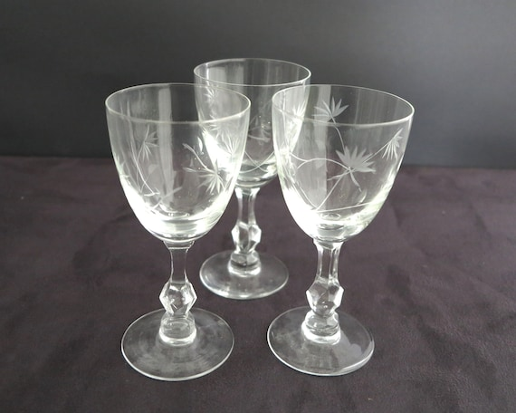 3 antique crystal wine glasses with floral etching and cutting, unusual stems, circa 1920s