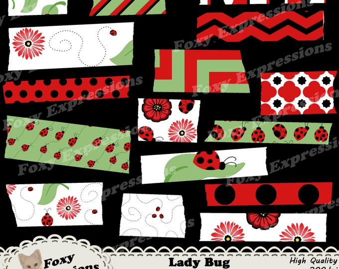 Lady Bug washi tape comes in Red, Black, White, and Green. Designs include Lady Bugs, Flowers, Leaves, Swirls, Chevron, Polka Dots & more