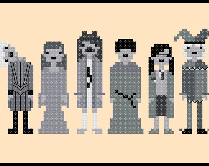 Harry Potter inspired The Ghosts of Hogwarts cross stitch picture, figurines, decorations - PDF Pattern - INSTANT Download
