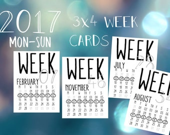 2017 Printable & Digital Numbered Week Cards with Monthly Calendar, Monday to Sunday. Perfect for Project Life and Pocket Scrapbooking!