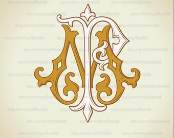 Wedding logo MP,PM | Vintage Monogram | Wedding Clip Art