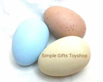 Three Realistic Wooden Eggs solid or Hollow// Natural Color Eggs // Play Food //  Waldorf Toy Kitchen