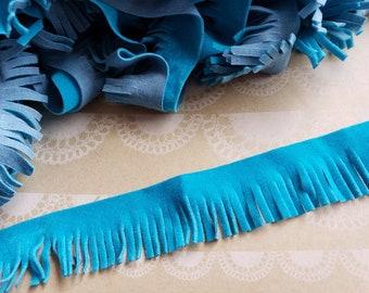 "Turquoise Faux Suede Fringe Trim - Boho Bohemian Style - 1"" Wide"