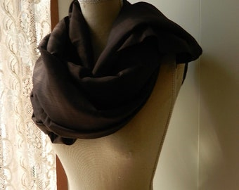 Chocolate-colored silk woman's shawl, elegant scarf, wedding scarf, mother's shawl, brown sash to cover her shoulders