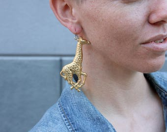 Giant Punched Brass Giraffe Earrings
