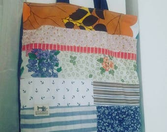 Handmade patchwork shopper bag-handmade patchwork bag
