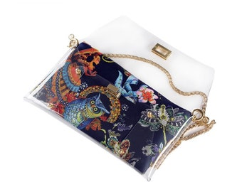 Blue Owl Transparent Clutch Bag by MARDERE   2 in 1 Clutch Bag   Evening Bag   HandMade Clutch   Handbag   Purple Purse