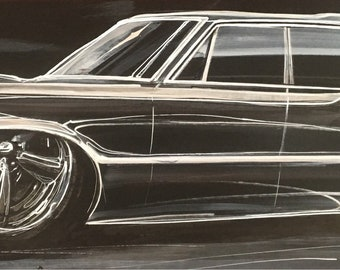 1965 Pontiac Wagon. Hot Rod Art. American Muscle. Man cave decor. Boys room decor. Gift for him. Custom car art. Wagon Wednesday.