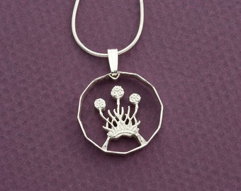 "Silver Scottish Thistle Pendant, Hand cut Scottish three pence Thistle Coin, Scottish Thistle Jewelry, 3/4"" in diameter, ( # 136S )"