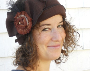 Flapper Polar Fleece Headband - Madeline- Chocolate Brown,  Brown French Ribbon Rose