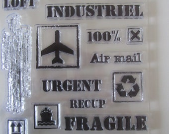 clear stamps set on the theme of travel and shipping