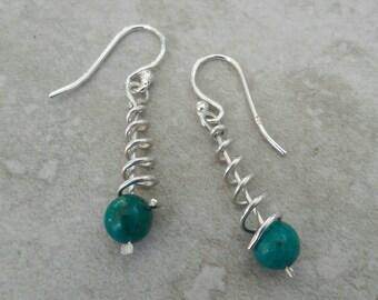 Sterling Silber und Türkis Spiral Ohrringe