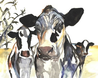Three Cows , Holstein Cow Art Print of Original Watercolour Cow painting by Kate Green
