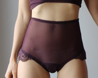 high waisted panties with lace trim - womens lingerie range - ROMANTIC - made to order