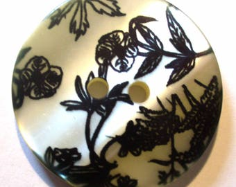 1 button ferns printed polyester black 28mm - ABR112