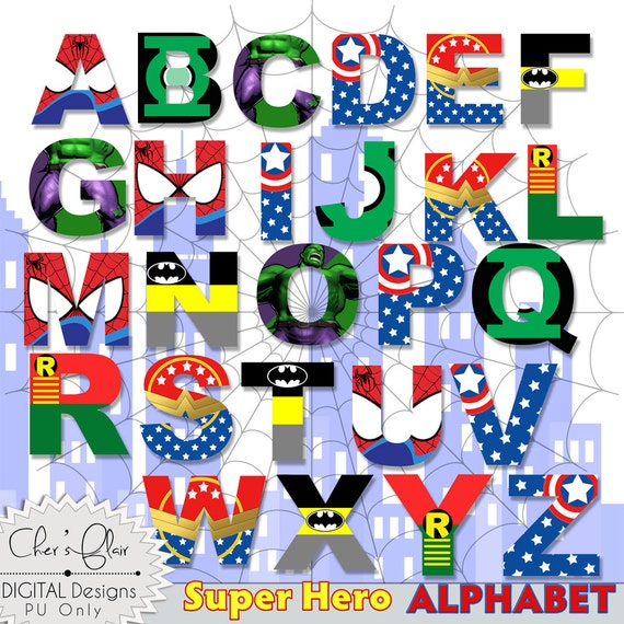 Declarative image for superhero letters printable