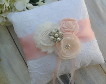 Ring Bearer Pillow, Blush Pink Ring Bearer Pillow, Pale Pink Pillow, Shabby Chic Ring Pillow, Ring Pillow, Bridal Pillow, YOUR CHOICE COLOR