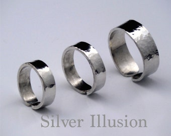 Hammered ring, rings, adjustable pewter ring, silver substitute, silver alternative, simplistic and minimalistic jewelry