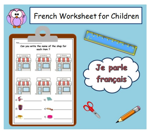 shop words french worksheet french writing activity. Black Bedroom Furniture Sets. Home Design Ideas