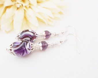 White Purple Earrings, Inspirational Earrings, Gift for Mom, Boho Beaded Dangle Earrings Sterling Silver Earrings, Boho Earrings Bohemian