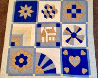 Blue, yellow and beige Sampler Wallhanging