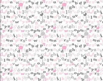 Alphabet Fabric, Letters Fabric, FlannelFabric, KidsFabric, BabyFabric, Nursery/Crib, Pink/Gray/White, Blanket/Quilt/Throw, Fabric Half Yard