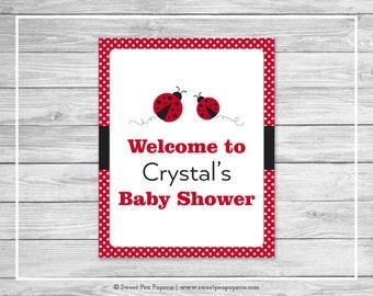 Ladybug Baby Shower Welcome Sign - Printable Baby Shower Welcome Sign - Ladybug Baby Shower - Baby Shower Welcome Sign - EDITABLE - SP140