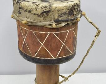 African Drum Zambia Wood Leather Handmade Carved Wood Musical Drum Dancing Ceremonial Storytelling Ritual Drum
