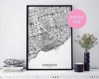Toronto, Canada City Map Print Wall Art | Print At Home | Digital Download File