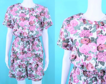 "1990s floral romper | pink purple floral print playsuit | vintage 90s romper | W 23""+"
