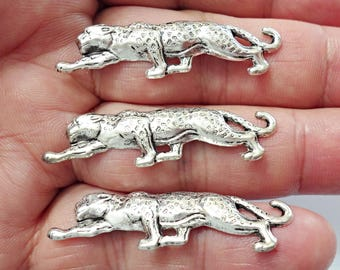 Vintage SET OF 3 Brass Stamping Leopard PENDANT Jewelry Findings. /M1