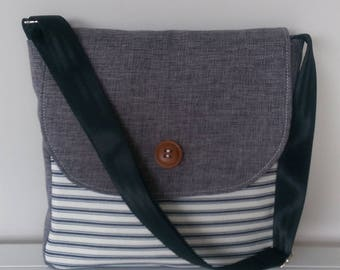 Messenger Bag: Grey and Stripes