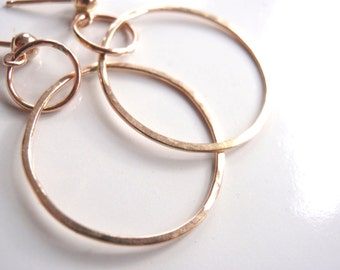 Gold Hoop Earrings Solid 14k Gold Hammered Textured Three-Quarter Inch Dangles
